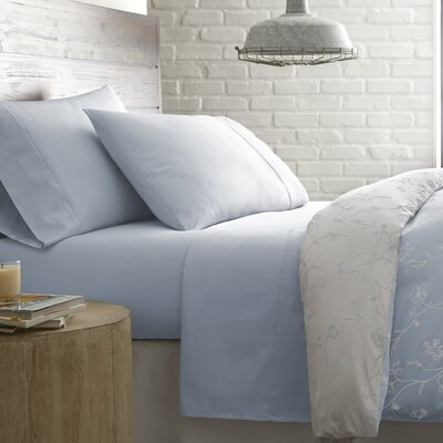Briteyarn Solid 300 Thread Count 100% Cotton Sheet Set Size: Twin, Color: Blue