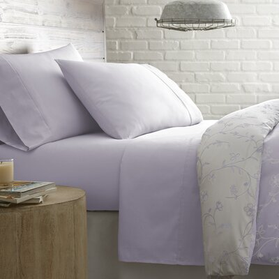 Briteyarn Solid 300 Thread Count 100% Cotton Sheet Set Size: Twin, Color: Foggy Lavender