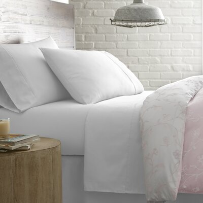Briteyarn Solid 300 Thread Count 100% Cotton Sheet Set Size: Full, Color: Bright White