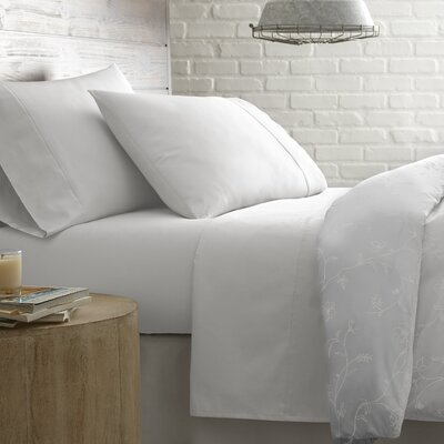 Briteyarn Solid 300 Thread Count 100% Cotton Sheet Set Size: Full, Color: Lunar Gray