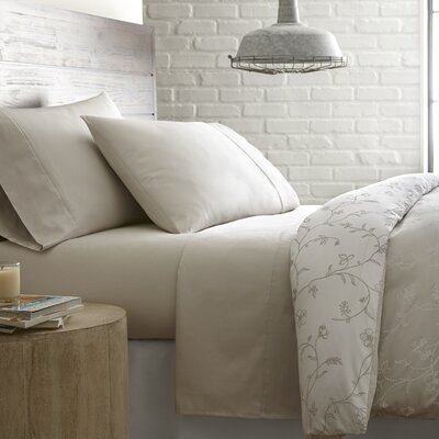 Briteyarn Solid 300 Thread Count 100% Cotton Sheet Set Size: Twin, Color: Soft Sand