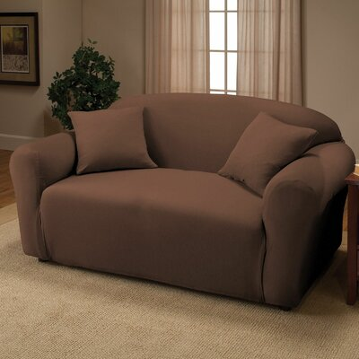 Jersey Box Cushion Loveseat Slipcover Upholstery: Chocolate