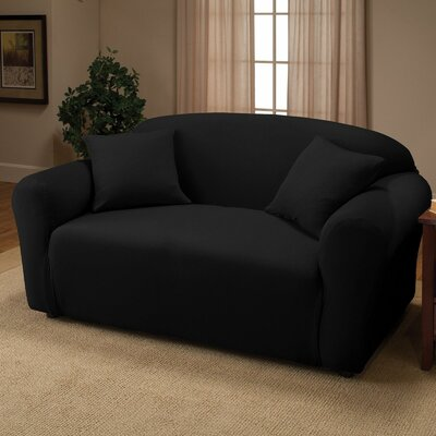 Jersey Loveseat Slipcover Upholstery: Black