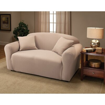 Jersey Box Cushion Loveseat Slipcover Upholstery: Linen