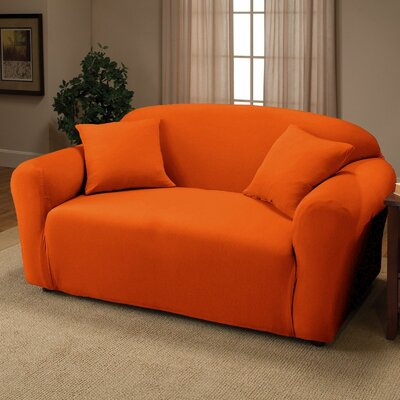 Jersey Box Cushion Loveseat Slipcover Upholstery: Orange