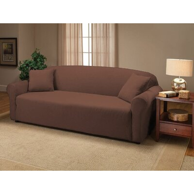 Jersey Box Cushion Sofa Slipcover Upholstery: Chocolate