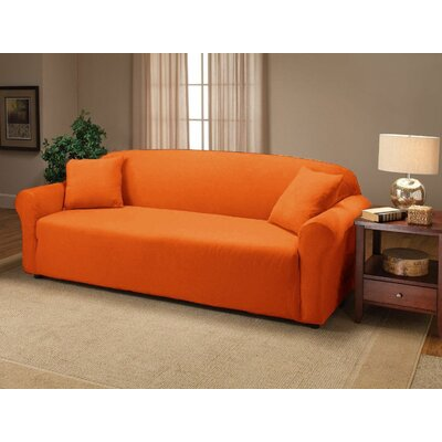 Jersey Sofa Box Cushion Slipcover Upholstery: Orange