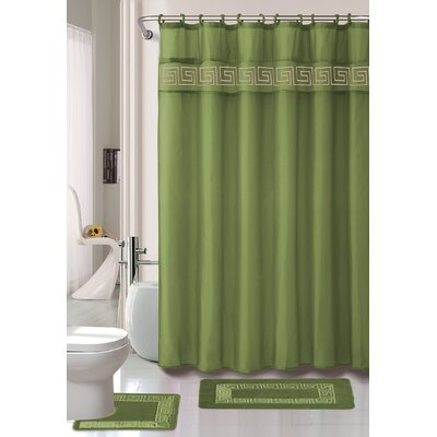 Greek Key 15 Pice Shower Curtain Set Color: Sage