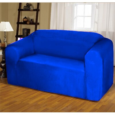 Jersey Box Cushion Sofa Slipcover Upholstery: Cobalt Blue