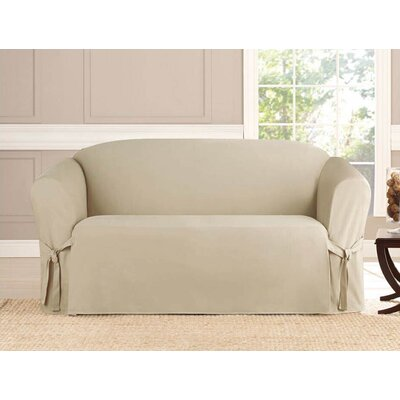 Box Cushion Loveseat Slipcover Upholstery: Taupe