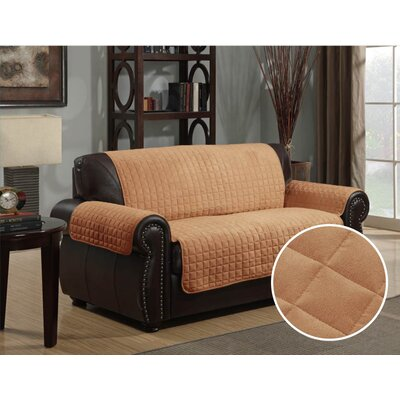 Microsuede Box Cushion Loveseat Slipcover Upholstery: Camel