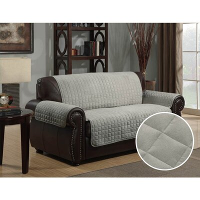 Microsuede Box Cushion Loveseat Slipcover Upholstery: Gray
