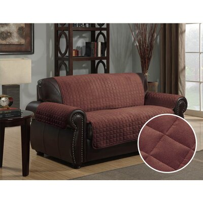 Microsuede Box Cushion Loveseat Slipcover Upholstery: Brown