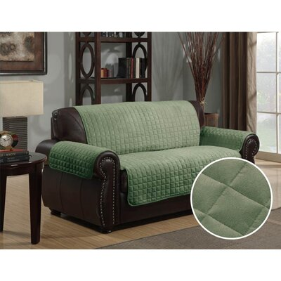 Microsuede Box Cushion Loveseat Slipcover Upholstery: Sage