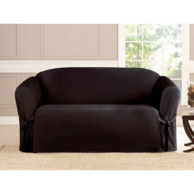 Box Cushion Loveseat Slipcover Upholstery: Black