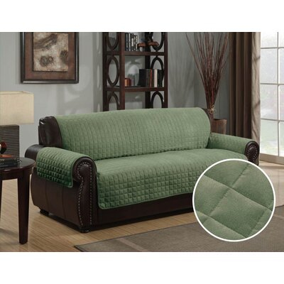 Box Cushion Sofa Slipcover Upholstery: Sage