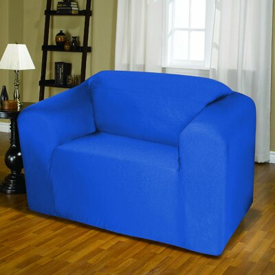 Jersey Box Cushion Loveseat Slipcover Upholstery: Cobalt Blue