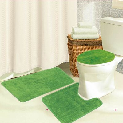 Brandy 3 Piece Bath Rug Set Color: Lime