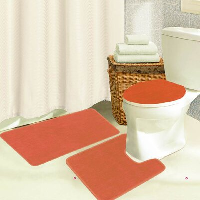 Brandy 3 Piece Bath Rug Set Color: Orange
