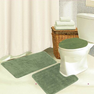 Brandy 3 Piece Bath Rug Set Color: Sage