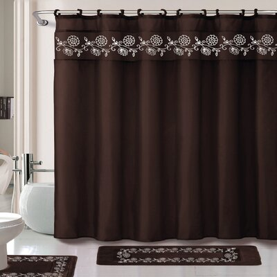 Leaves 15 Piece Shower Curtain Set Color: Chocolate