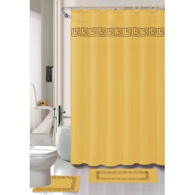 Greek Key 15 Piece Shower Curtain Set Color: Gold