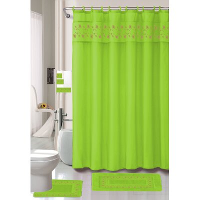 Thea 15 Piece Shower Curtain Set Color: Lime