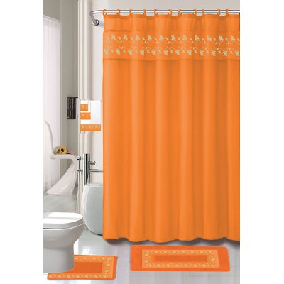 Thea 15 Piece Shower Curtain Set Color: Orange