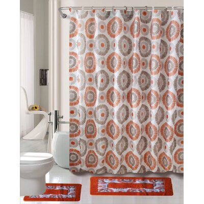 Skylar 15 Piece Printed Shower Curtain Set