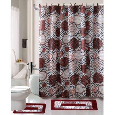 Madrid 15 Piece Printed Shower Curtain Set