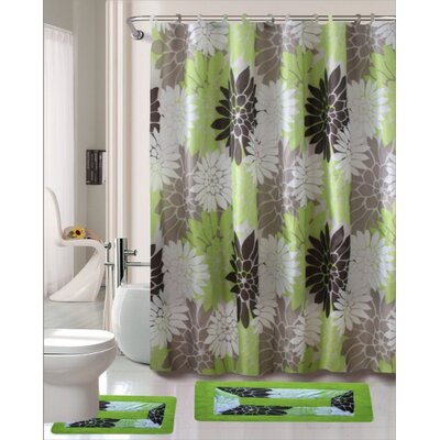 Erica 15 Piece Printed Shower Curtain Set