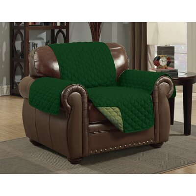 Box Cushion Armchair Slipcover Upholstery: Sage/Hunter Green