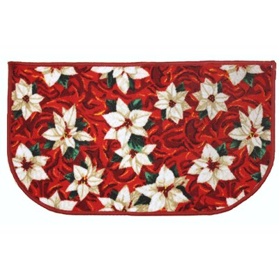 White Poinsettia Holiday Area Rug Rug Size: Slice 16 x 26