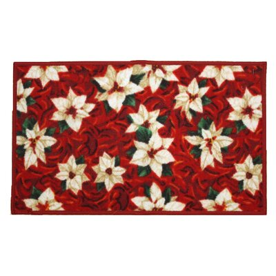 White Poinsettia Holiday Area Rug Rug Size: Rectangle 16 x 26