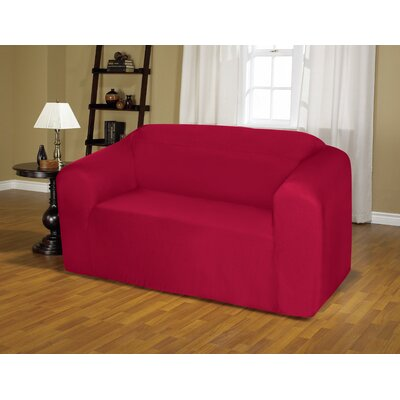 Jersey Box Cushion Loveseat Slipcover Upholstery: Ruby