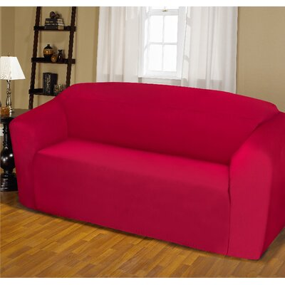 Jersey Box Cushion Sofa Slipcover Upholstery: Ruby
