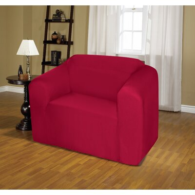 Jersey Box Cushion Armchair Slipcover Upholstery: Ruby
