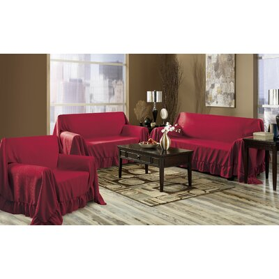 Venice 3 Piece Furniture Throw Set Color: Burgundy