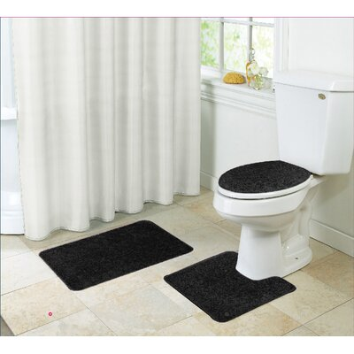 Layla Bath Rug Set Color: Black