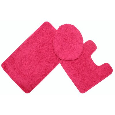 Layla Bath Rug Set Color: Fuchsia