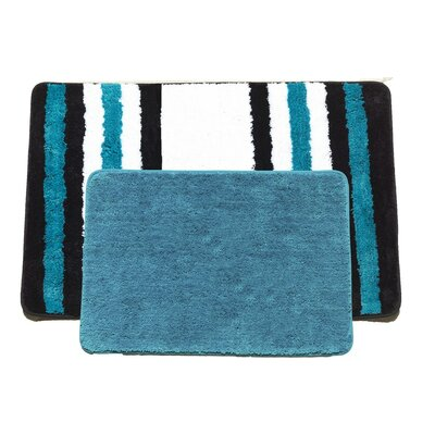 Jennie 2 Piece Bath Rug Set Color: Turquoise/Black