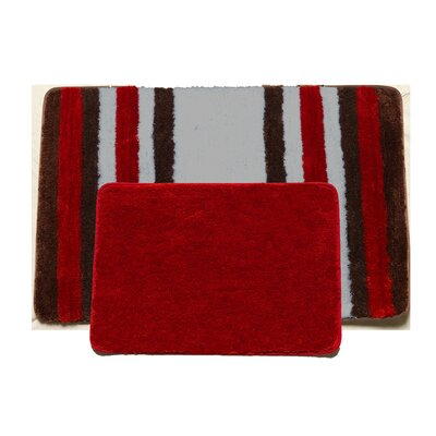 Jennie 2 Piece Bath Rug Set Color: Red/Brown