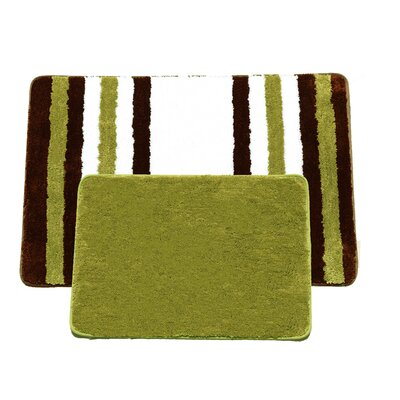 Jennie 2 Piece Bath Rug Set Color: Sage/Brown