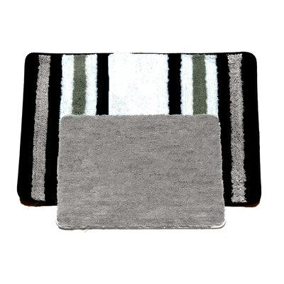 Jennie 2 Piece Bath Rug Set Color: Taupe/Black