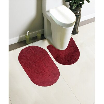 Taylor 2 Piece Bath Rug Set Color: Burgundy