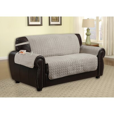 Box Cushion Loveseat Slipcover Upholstery: Grey