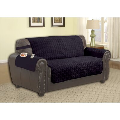 Box Cushion Loveseat Slipcover Upholstery: Black