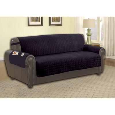 Microfiber Sofa Slipcover Upholstery: Black