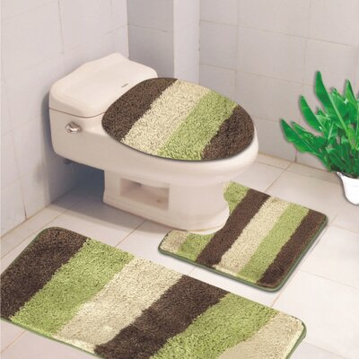 Denise 3 Piece Striped Bath Rug Color: Sage