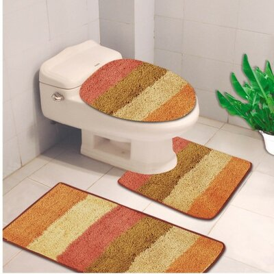 Denise 3 Piece Striped Bath Rug Color: Jewel